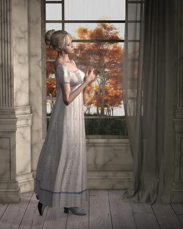 ilustración Ilustración de una regencia (finales de los 18 y principios de siglo 19) mujer, de pie junto a una ventana que da a la lluvia, 3d digitalmente