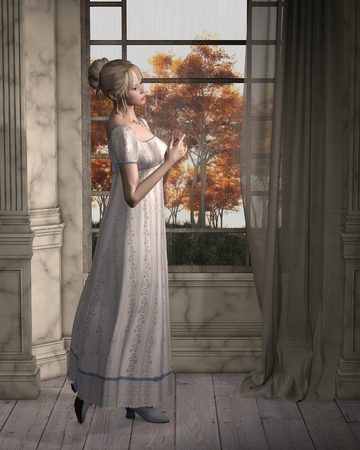 Illustration of a Regency (late 18th to early 19th century) woman, standing by a window looking out at the rain, 3d digitally rendered illustration
