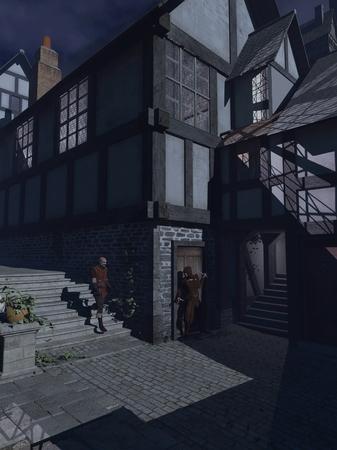 Fantasie illustratie van een gewapende overvaller te wachten om een voorbijganger hinderlaag in een maanlicht Middeleeuwse straat, 3d digitaal teruggegeven illustratie
