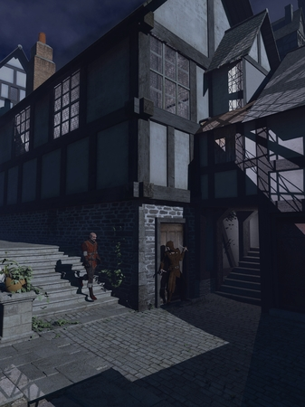 Fantasy illustration of an armed robber waiting to ambush a passer-by in a moonlit Medieval street, 3d digitally rendered illustration