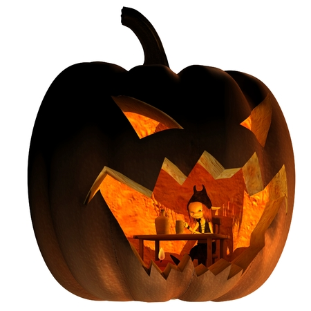 Fantasy illustration of a tiny goblin creature living inside a Halloween pumpkin lantern, 3d digitally rendered illustration