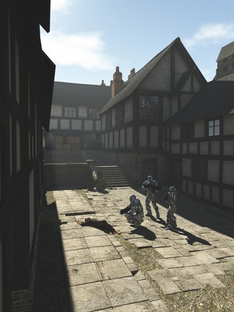 alien world: Science fiction fantasy illustration of a group of futuristic space marines visiting a Medieval style town on an alien world, 3d digitally rendered illustration
