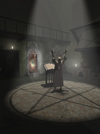 mage: Fantasy illustration of an Alchemist summoning a demon in his study, 3d digitally rendered illustration Stock Photo