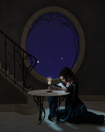 goth: Fantasy illustration of a young goth style woman in a romantic long dress leaning on a table in candlelight, 3d digitally rendered illustration