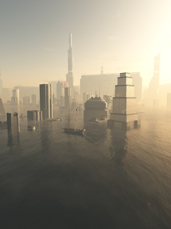 drowned: Science fiction illustration of the a future city drowned by rising sea level, viewed across a misty sea, 3d digitally rendered illustration