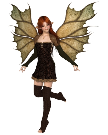Fantasy illustration of a autumn fairy dressed in brown with red hair and leaf wings, 3d digitally rendered illustration