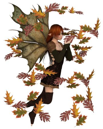 Fantasy illustration of a autumn fairy dressed in brown with red hair and leaf wings, playing with scattered swirling leaves, 3d digitally rendered illustration Stock Photo