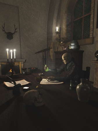 alchemist: Fantasy illustration of an Alchemist researching a potion in his study, 3d digitally rendered illustration