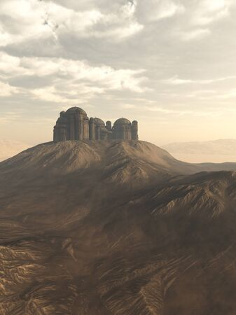 eroded: Fantasy illustration of an isolated citadel perched on a hill in an empty rocky desert, 3d digitally rendered illustration Stock Photo