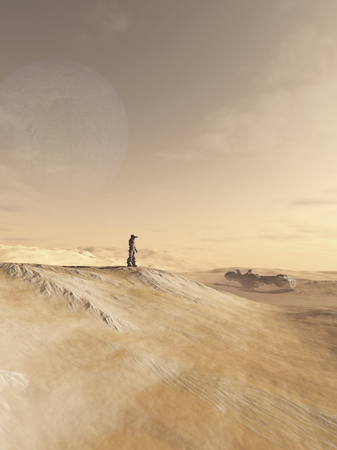 lonely person: Science fiction illustration of a future soldier scanning an alien desert planet outside his space ship, 3d digitally rendered illustration