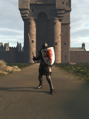 longsword: Illustration of a Medieval knight in Italian Milanese style armour defending a castle gate, 3d digitally rendered illustration Stock Photo