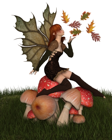 Fantasy illustration of a autumn fairy dressed in brown with red hair and leaf wings, sitting on a toadstool and playing with scattered swirling leaves, 3d digitally rendered illustration Stock Photo