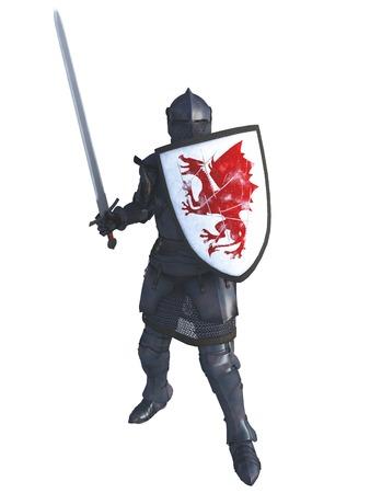 edad media: Ilustración de un caballero medieval tardía en italiano armadura milanesa con espada y un escudo pintado con un dragón rojo, 3d rindió la ilustración digital