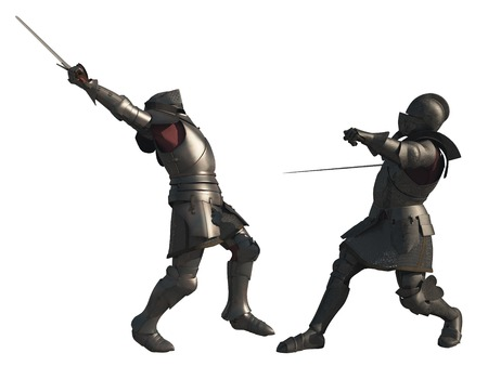 mediaeval: Illustration of two late Medieval knights fighting a battle with swords, isolated on a white background, 3d digitally rendered illustration