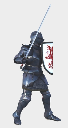 longsword: Illustration of a late Medieval knight in Italian Milanese style armour with sword and a shield painted with a red dragon, side view, 3d digitally rendered illustration