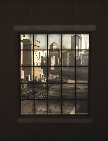 view window: Science fiction illustration of the view of a future city through the window of an industrial building, 3d digitally rendered illustration
