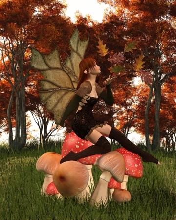 Fantasy illustration of a autumn fairy dressed in brown with red hair and leaf wings, sitting on a woodland toadstool and playing with scattered swirling leaves, 3d digitally rendered illustration Stock Photo