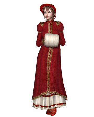 Illustration of a girl in a Regency Period red coat, with bonnet and muff, 3d digitally rendered illustration