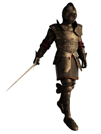 Illustration of a European Medieval or Fantasy Knight in decorated armour holding a sword, 3d digitally rendered illustration