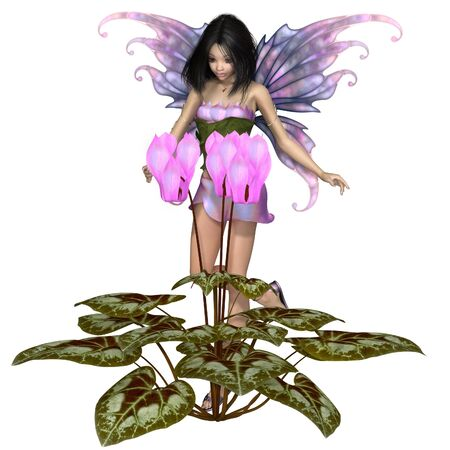 plant stand: Fantasy illustration of a pretty dark haired fairy standing with a pink cyclamen flower, 3d digitally rendered illustration
