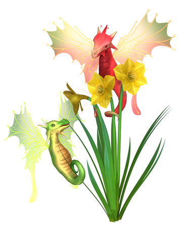 arts symbols: Fantasy illustration of cute red and green Welsh dragons and yellow daffodils for St Davids Day, patron saint of Wales, on 1st March, 3d digitally rendered illustration Stock Photo