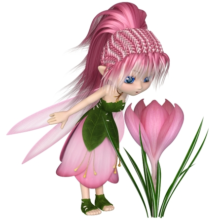 Cute toon fairy in leaf and pink petal dress looking at a spring crocus flower, 3d digitally rendered illustration Stock Photo