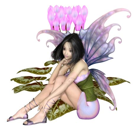 Fantasy illustration of a pretty dark haired fairy sitting by a pink cyclamen flower, 3d digitally rendered illustration