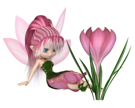 Cute toon fairy in leaf and pink petal dress sitting next to a spring crocus flower, 3d digitally rendered illustration