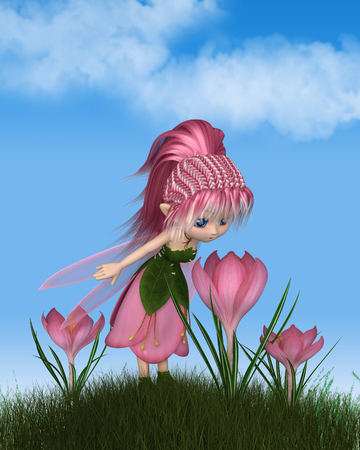 Cute toon fairy in leaf and pink petal dress looking at a spring crocus flower on a sunny spring day, 3d digitally rendered illustration Stock Photo