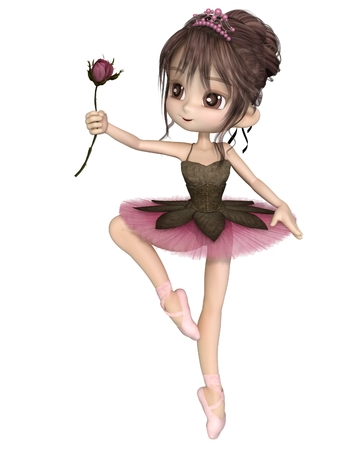 Cute toon ballerina wearing a classical ballet tutu and tiara and holding a beautiful pink rose, 3d digitally rendered illustration Stock Photo
