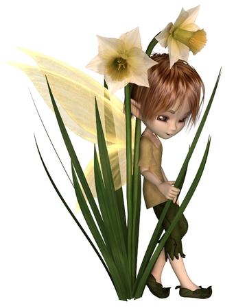 Cute toon daffodil fairy boy leaning on spring daffodil flowers, 3d digitally rendered illustration