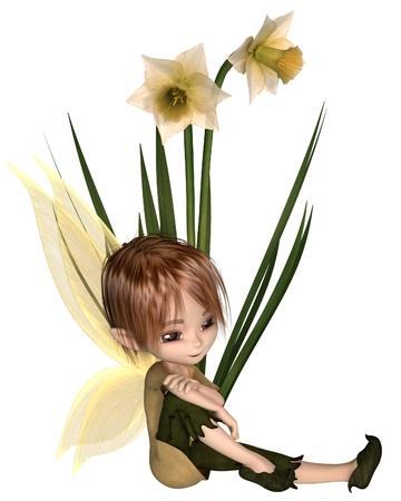 Cute toon daffodil fairy boy sitting next to spring daffodil flowers, 3d digitally rendered illustration