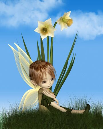 Cute toon daffodil fairy boy sitting next to spring daffodil flowers on a sunny spring day, 3d digitally rendered illustration