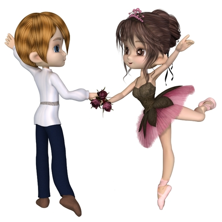 Cute toon ballerina wearing a classical ballet tutu and tiara and holding a beautiful pink rose dancing in a pas de deux, 3d digitally rendered illustration