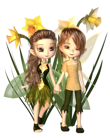 Cute toon daffodil fairy boy and girl holding hands next to Spring flowers, 3d digitally rendered illustration Stock Photo