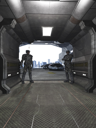 Science fiction illustration of two future soldiers standing guard at a space dock hangar, 3d digitally rendered illustration
