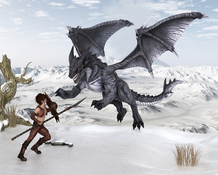 Fantasy illustration of a warrior elf boy wearing bronze dragon scale armour and fighting a dragon with spear and shield on a snowy winter mountain, 3d digitally rendered illustration