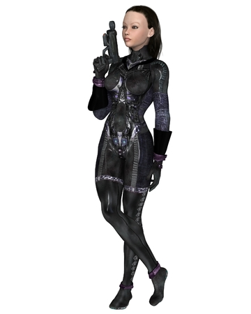 Science fiction illustration of a dark-haired female assassin in a black cat-suit, 3d digitally rendered illustration