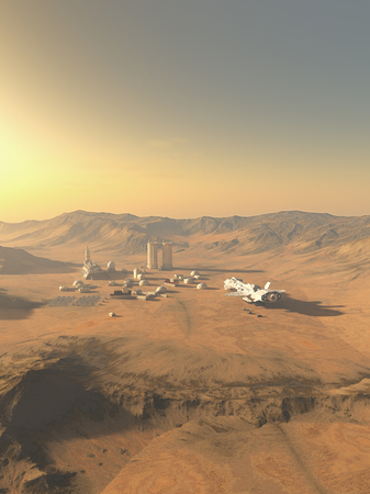 Science fiction illustration of an isolated outpost on an alien desert planet visited by a supply ship, 3d digitally rendered illustration