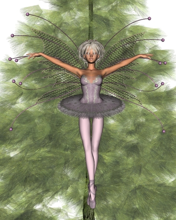 elves: Illustration of a pretty pink ballerina fairy on top of the Christmas tree, 3d digitally rendered illustration Stock Photo