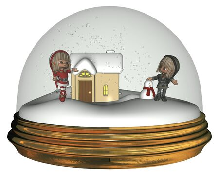 Illustration of two Christmas Elves inside a winter snowglobe, building a snowman, 3d digitally rendered illustration Stock Photo