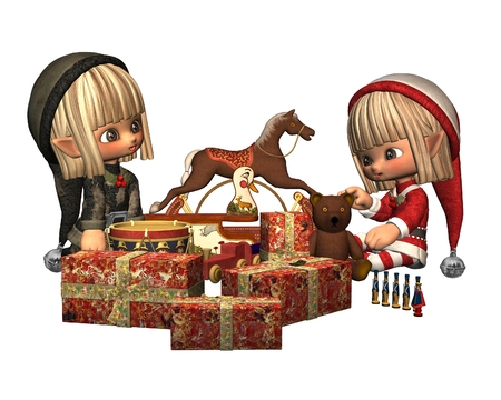 Two cute Christmas elves wrapping gifts, 3d digitally rendered illustration