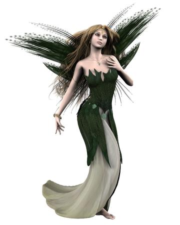 Fantasy illustratie van Titania, Koningin van de Feeën van Shakespeare's Midsummer Nacht's Droom, 3D digitaal gesmolten illustratie Stockfoto