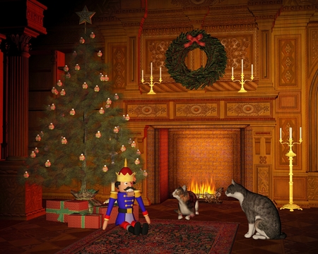 Two cats lazing in front of the fire and looking at the festive tree on Christmas Eve, 3d digitally rendered illustration