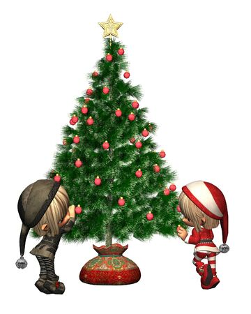 elves: Two cute Christmas elves decorating the festive tree, 3d digitally rendered illustration Stock Photo