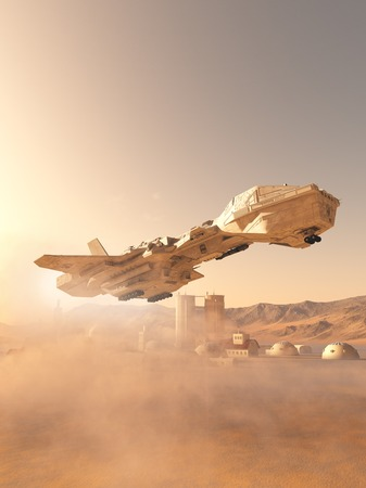 Science fiction illustration of a future space shuttle landing in a dust storm at an outpost town on Mars, 3d digitally rendered illustration