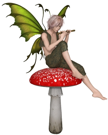 Fantasy illustration of a Fairy Boy sitting on a toadstool playing a wooden flute, 3d digitally rendered illustration Stock Photo