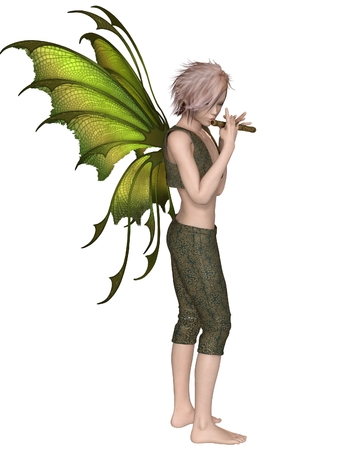 Fantasy illustration of a Fairy Boy with green wings playing a wooden flute, 3d digitally rendered illustration