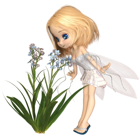 faerie: Fantasy illustration of a cute toon forget-me-not flower fairy with blonde hair, 3d digitally rendered illustration