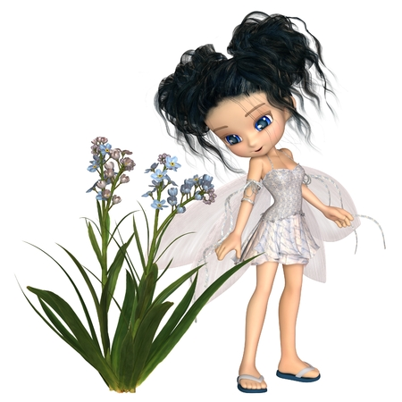 plant stand: Fantasy illustration of a cute toon forget-me-not flower fairy with black hair, 3d digitally rendered illustration